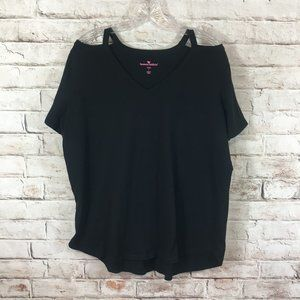 Woman Within Plus Cold Shoulder Tee Black 18/20
